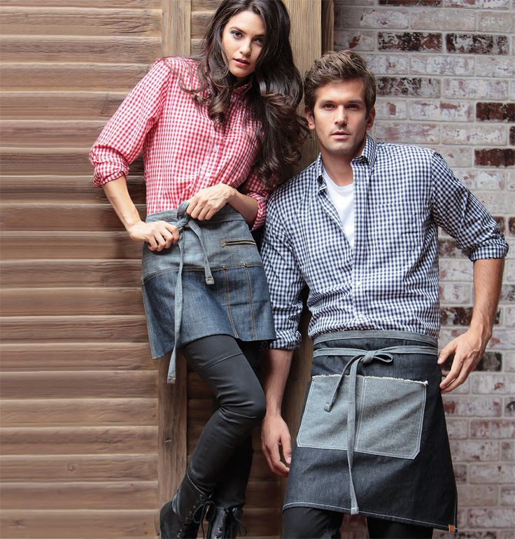 Classic Kitchen Gingham Shirt paired with an Urban Chic Denim Apron | Get the LOOK @ ChefsEmporium.net (Gingham Shirts - http://www.chefsemporium.net/dressshirts.html) (Urban Aprons - http://www.chefsemporium.net/denim-apron.html)