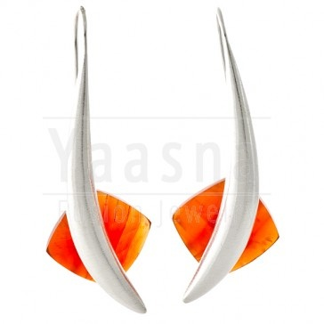 Sterling Silver Carnelian Moon Earring    Available at http://www.yaasna.com/earrings/stone-silver/carnelian-moon-earring.html