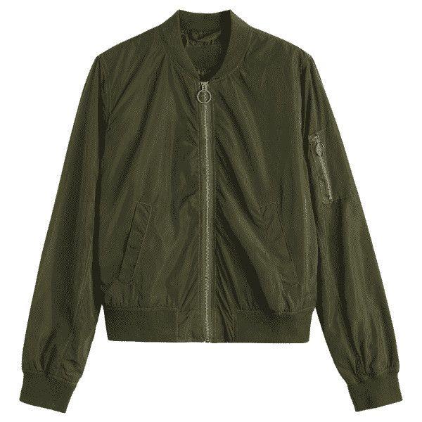 Zipper Plain Bomber Jacket ($29) ❤ liked on Polyvore featuring outerwear, jackets, style bomber jacket, olive jacket, army green jacket, bomber jacket and olive bomber jacket