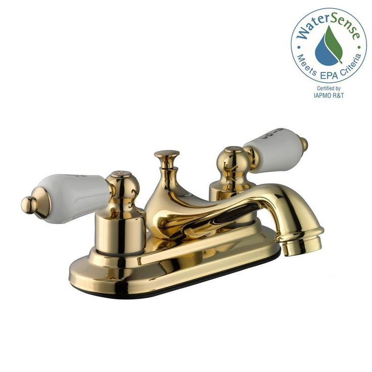 Glacier Bay Teapot 4 In. Centerset 2 Handle Low Arc Bathroom Faucet In  Polished Brass