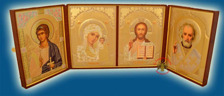 Icon Triptych Russian Orthodox Style 25Χ35Χ5cm @nioras.com