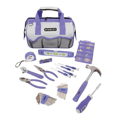 Got tired of having to wait and borrow tools from my parents so they got me this for Christmas.  It's purple, has one of those cool bags that prop themselves open (totally want a doctors bag that does that), and the tools are made for smaller female-sized hands. Love it.  Now I just need more excuses to use it.