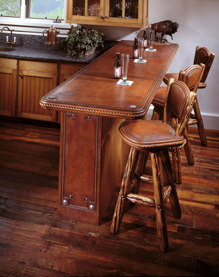 bar kitchen, tooled leather