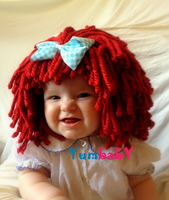 Raggedy ann wig Baby hat Halloween Costume Baby wig  by YumBaby, $29.95  #baby costumes #raggedy #ann #costume #red #wig #hat #toddler costume #children #dress up clothes