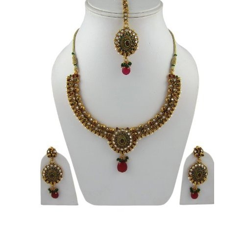 Amazon.com: Wedding Jewelry Sets Faux Ruby Red Green Polki Style Kundan Necklace Sets: Indian Designer: Jewelry  $79.99