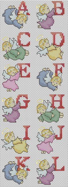 Angel Alphabet Cross Stitch Pattern, instant PDF download http://lucieheaton.com/angel-alphabet-cross-stitch-pattern-abc