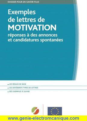 Exemples de lettres de Motivation   Génie Électromécanique Génie Électromécanique