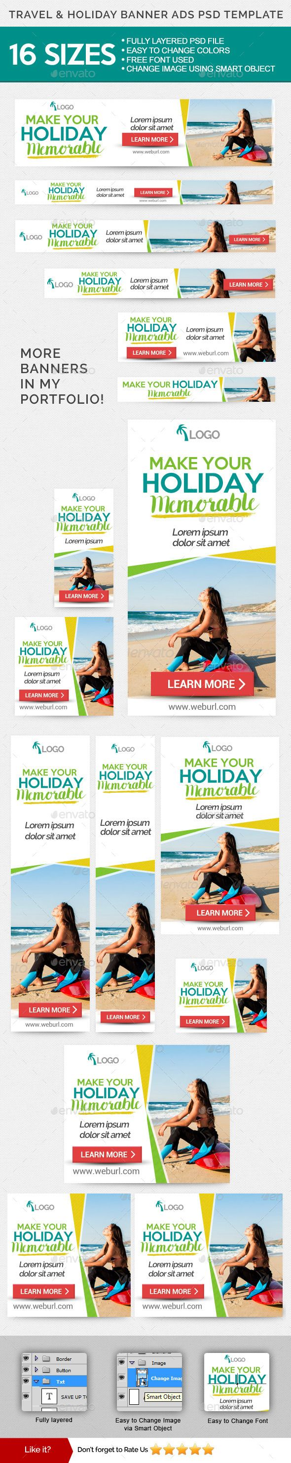Travel & Holiday Banners Ads PSD Template Template #design Download: http://graphicriver.net/item/travel-holiday-banners-ads-psd-template/11727043?ref=ksioks