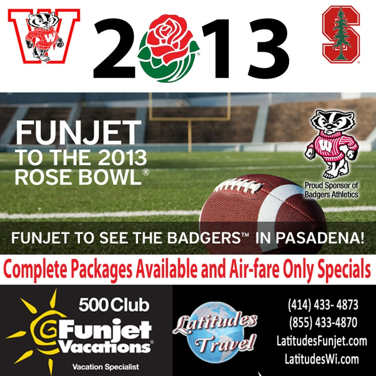 Variety of package options to fit your Rose Bowl vacation needs.  Nonstop flights from Milwaukee or Madison to Los Angeles (LAX).  Comfortable and convenient transfers to/from airport (with Air+Hotel packages) and game (all hotel inclusive packages).   Experienced on-site Tour staff and Tour Desk at your hotel in Pasadena to ensure your entire experience is hassle-free!  Optional tickets available for upgraded game seats, Badger Blast/Huddle tailgate & Parade.  #badgers #rose_bowl #wisconsin