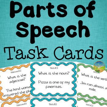 """These Parts of Speech Task Cards are a set of 144 task cards for 8 different parts of speech. The parts of speech include: nouns, verbs, adjectives, adverbs, pronouns, prepositions, conjunctions, and interjections. Each part of speech has its own task card section, along with a set of """"mixed review"""" task cards involving all parts of speech."""