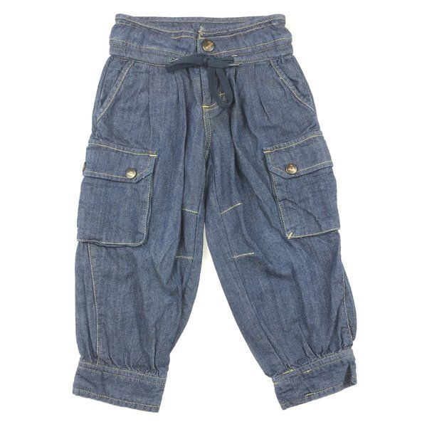 Fred Bare, girl's denim cargo pants with adjustable waist, good pre-loved condition (GUC), size 2, $13 #kidsfashion #girlsfashion #denim #fredbare #preloved #daisychainclothing