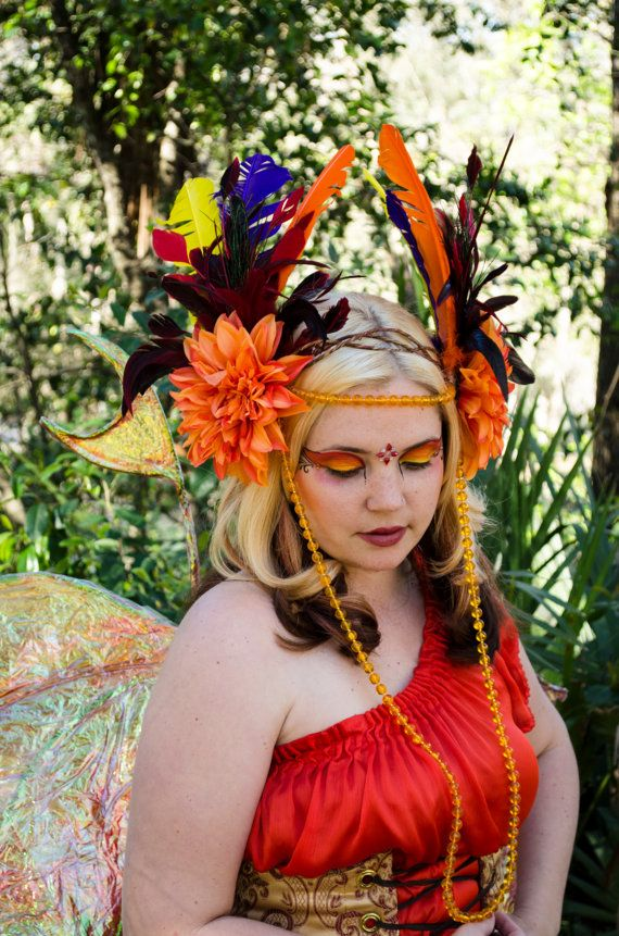 phoenix headdress feather headpiece fire by frecklesfairychest 8500 - Halloween Costumes In Phoenix