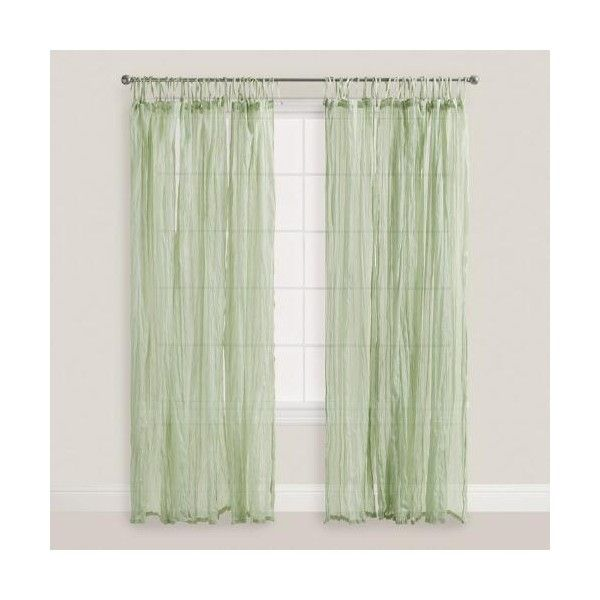 Cost Plus World Market Sage Green Crinkle Cotton Voile Curtains Set of... ($30) ❤ liked on Polyvore featuring home, home decor, window treatments, curtains, green, tie top curtains, cotton voile curtains, twin pack, cost plus world market and textured curtains