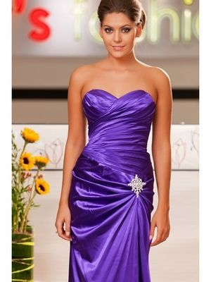Purple Bridesmaid Gown Small Train Long Satin Strapless With Brooch