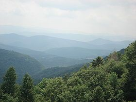 View from the slopes of Back Allegheny Mountain, looking east. Visible are Allegheny Mountain (in the Monongahela National Forest of West Virginia, middle distance) and Shenandoah Mountain (in the George Washington National Forest of Virginia, far distance).
