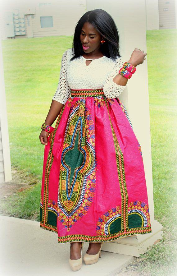 dac9b8b6e Dashiki Maxi Skirt in Pink Orange Red Dashiki Maxi Skirt African Clothing  for Women Plus Size Clothi