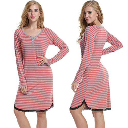 eshion Women Sleep Shirt Nightgown Striped Nightshirts VNeck Long Sleeve Sleepwear ** Click on the image for additional details.