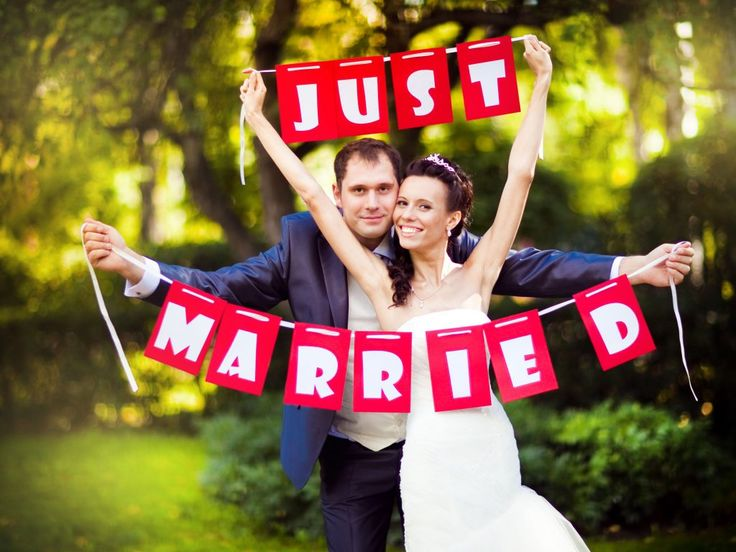 Just married banner - The Best Honeymoon Registry Websites for Brides and Grooms