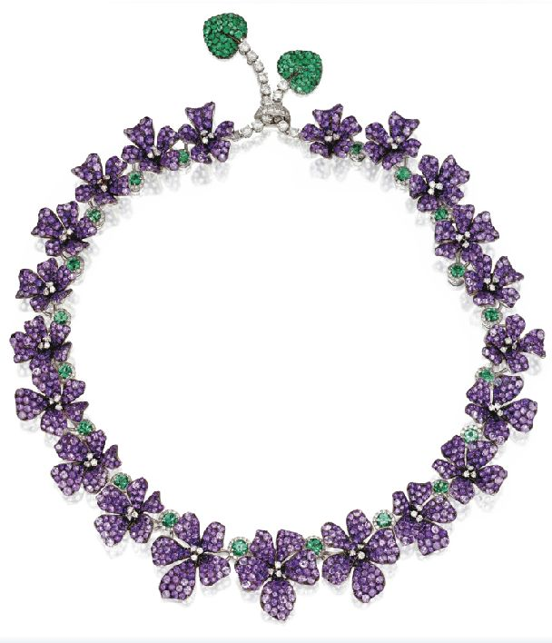 WHITE GOLD, AMETHYST, EMERALD AND DIAMOND VIOLET NECKLACE, MICHELE DELLA VALLE. Via Sotheby's.