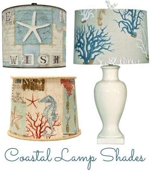 Refresh the look of a lamp with a coastal, beach or nautical lamp shade: http://www.completely-coastal.com/2016/04/coastal-beach-nautical-lamp-shades.html Beautiful coastal lampshades in a variety of patterns and styles.