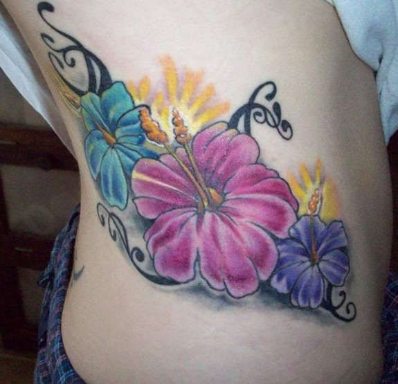 Tropical Flower Rib Tattoos: 34 Best Tropical Flower Tattoos Black And Grey Images On