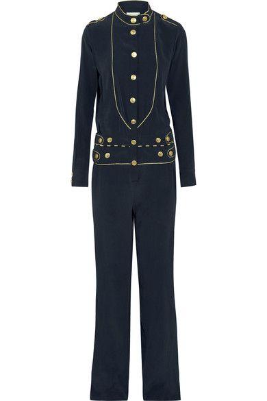 Pierre Balmain - Washed-silk Jumpsuit - Navy - FR44