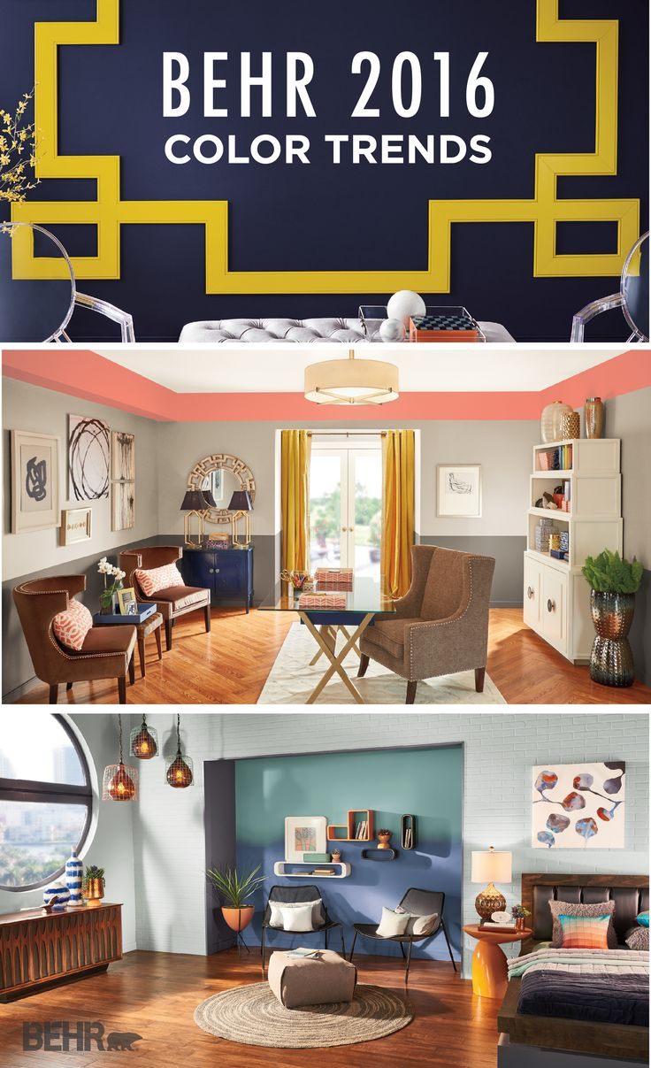 With makeover ideas featuring accent walls in Modern Mint, inspired furniture, and unique lighting fixtures, the 2016 BEHR Color Trends are sure to help with all your design needs!