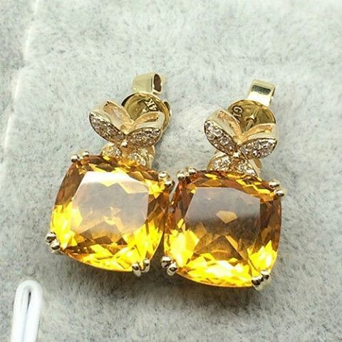 "29 Likes, 6 Comments - Suma Boutique (@sumagemboutique) on Instagram: ""_ 14K Yellow Gold Fine Earring with 9.68 Carats Natural Citrine and Diamond  Main Stone : Stone…"""