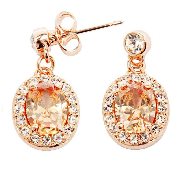 Aros enchapados en #oro rosado de 18 quilates, con #cristales austriacos.