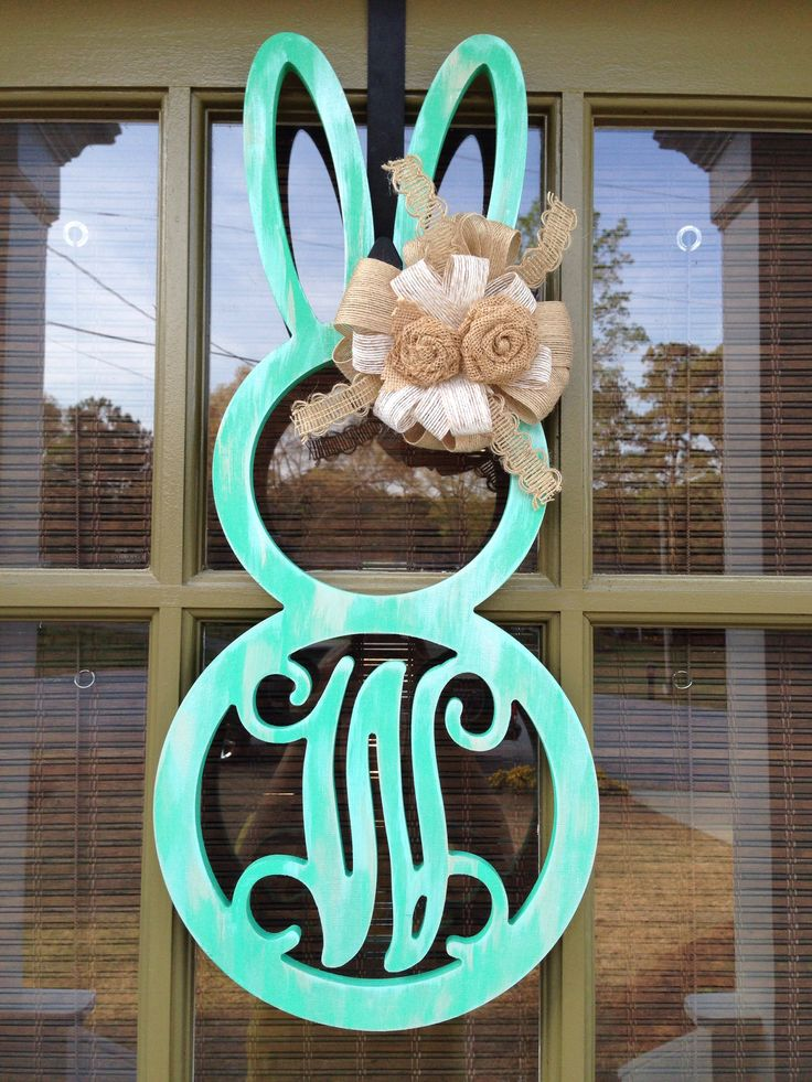 Bunny monogram door hanger for Easter!