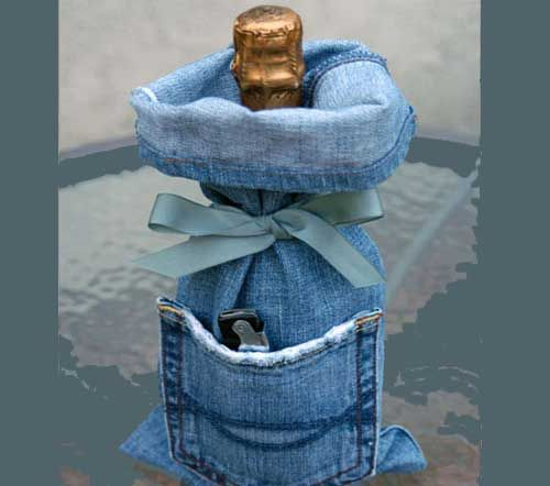 christmas gift wrapping ideas-denim pants