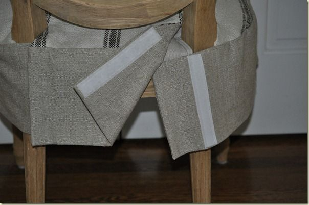 Slipcover sewing tricks: how to go around chair's back leg area when making a seat slipcover. velcro, tie, or button would work. Willow Decor blog.