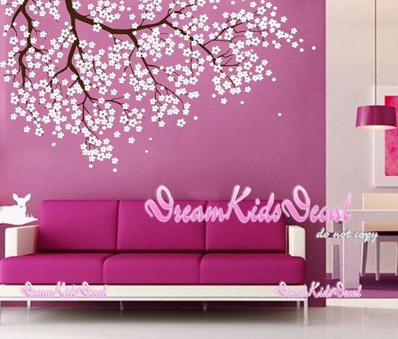 Pared de flores árbol calcomanía cereza etiqueta por DreamKidsDecal