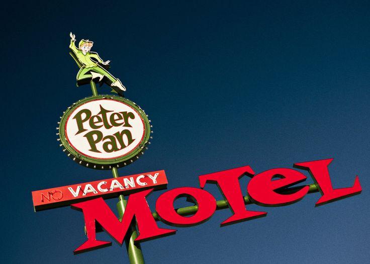 Las vegas peter pan motel neon sign vintage typography for Home decor las vegas