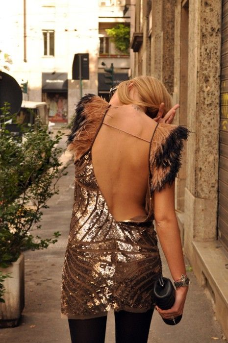 beautiful: Fashion, Style, Dresses, Sequins, Sparkle, Open Backs, Feathers