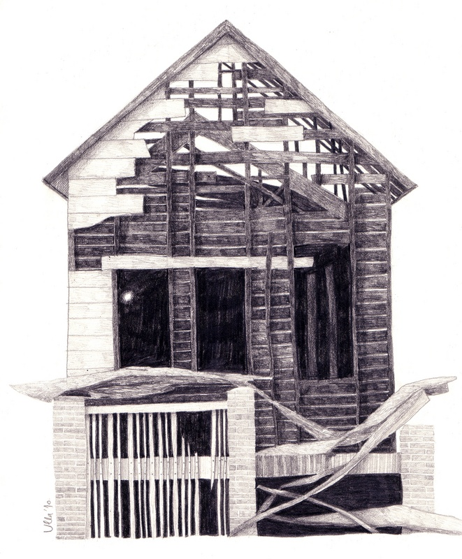 This is a photo of Handy Abandoned House Drawing