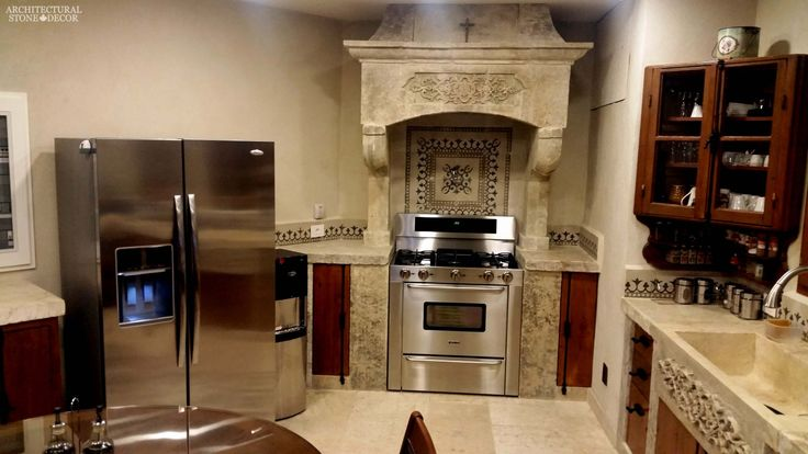 #oldschool #world #modern #style #Hand #carved #reclaimed #limestone #kitchen #hood #sink #Barre #Blonde #flooring #reclaimed colored cement pavers backsplash butcher blocks counter tops Canada Toronto
