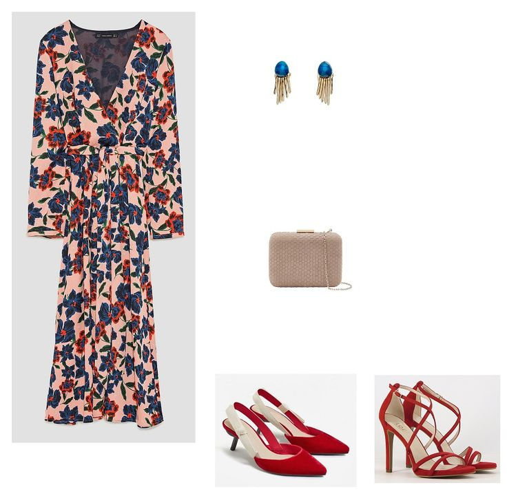 Time for Fashion. Nude floral print midi dress+red sling back pumps or heeled sandals+blush clutch+gold and blue earrings. Late Summer Evening Wedding Guest Outfit 2017