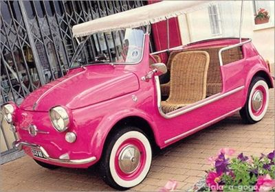 pink car with wicker seats?! I wish I lived where the weather would cooperate with this car!