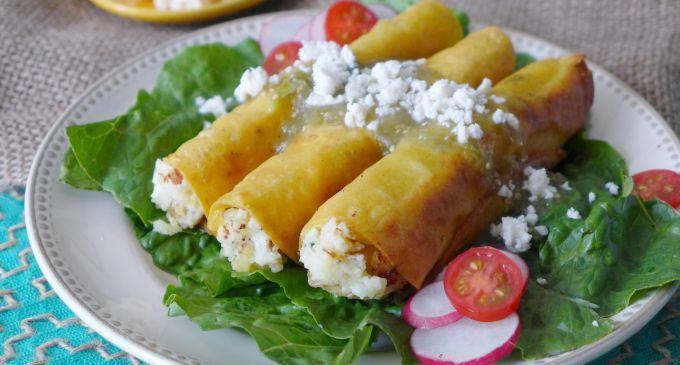 Potato and Epazote Taquitos with Salsa Verde   Recipe on idahopotato.com @Ericka Sanchez