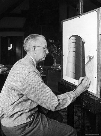 Charles Sheeler at Work on a Painting Which is to Be Used as a Fortune Cover