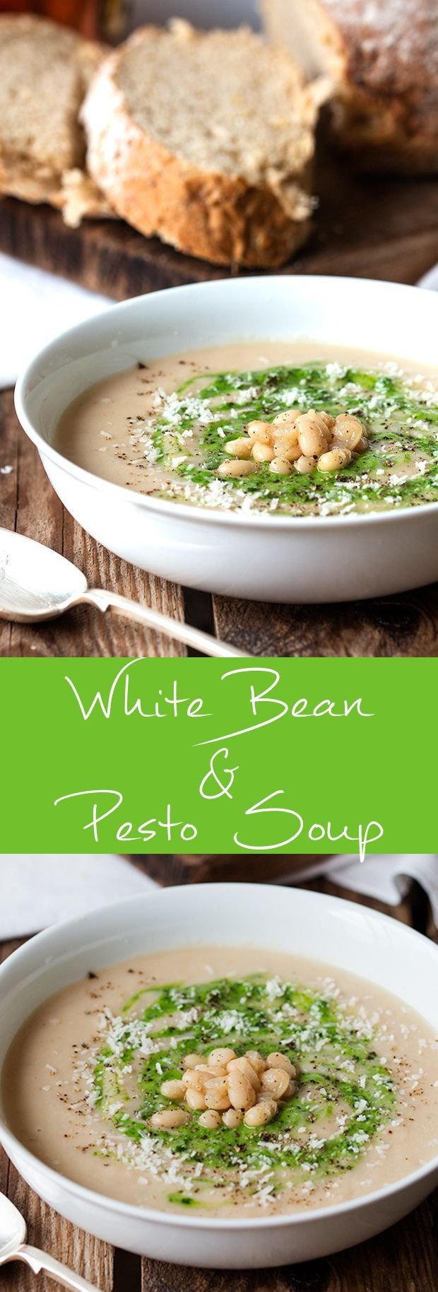 A warming, creamy, white bean soup, swirled with pesto and parmesan. Shop for bulk ingredients and kitchen supplies at http://www.roundeyesupply.com/restaurant-food-supplies-s/24.htm