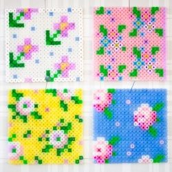 Cross stitch coasters from perler beads