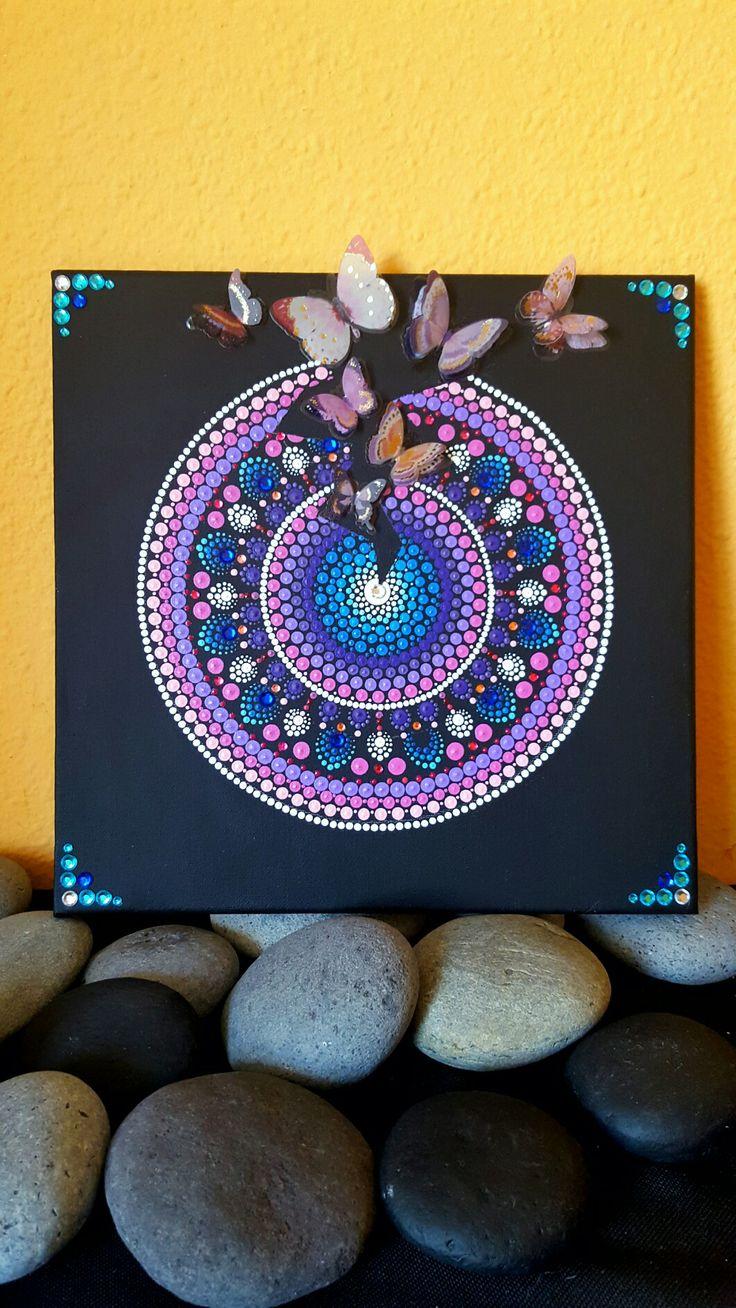 Mandala hand painted#3D butterfly#Acrylic#Unique#30×30cm#Beautiful colors#Super gift#etsy shop:BarbaraMandalaTFS