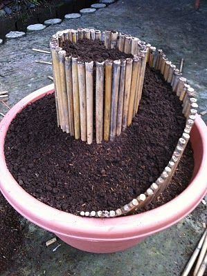 Mini Spiral Garden in a plant container. Clever way to add height to a pot.