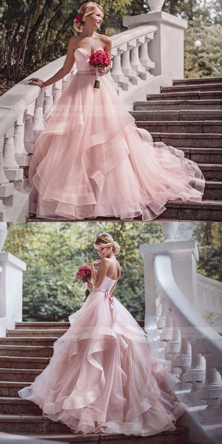 Gorgeous A-line Strapless Pink Long Wedding Dress
