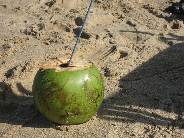 In veel tropische landen worden jonge kokosnoten verkocht. Kokossap is een goede natuurlijke dorstlesser.