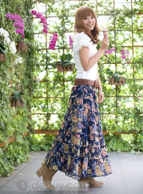 Bohemian Floral Long Skirt...love everything about this outfit!!