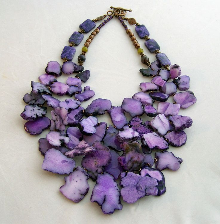 Bold Vivid Purple sliced agate stone necklace..BEAUTY FROM THE EARTH