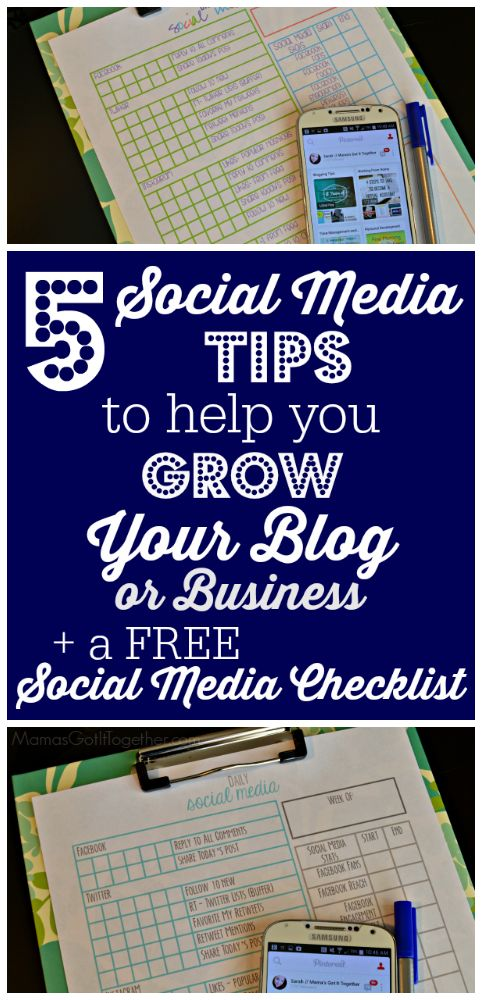 Five social media tips to help you grow your blog or home business + a FREE daily Social Media checklist.